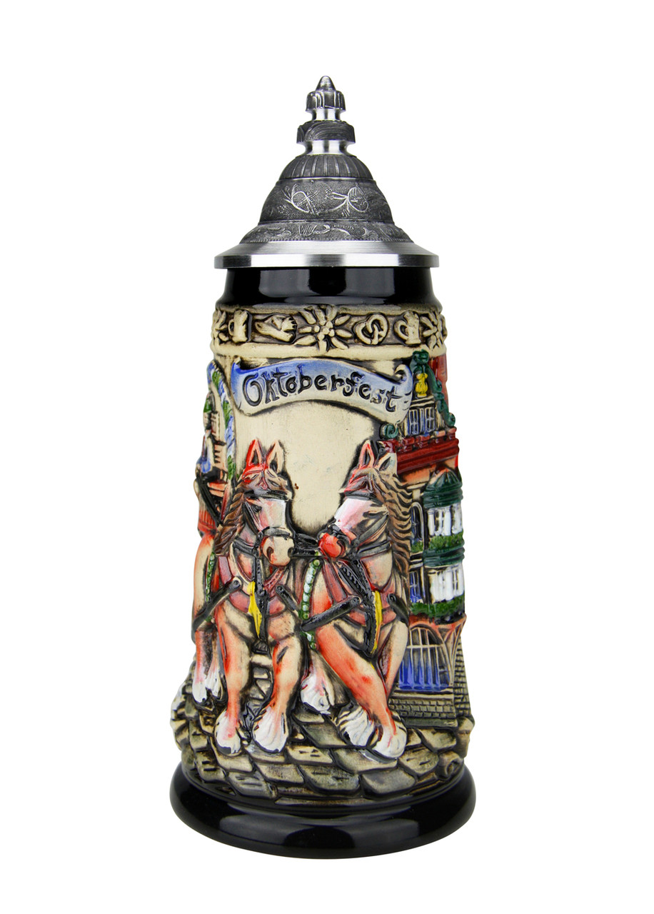 German Beer Stein Depicts Clydesdale Horses Pulling Beer Cart