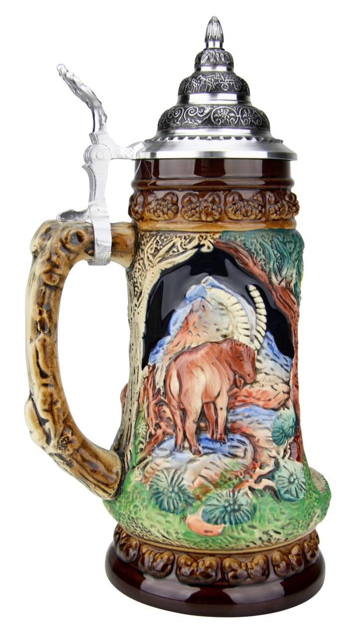 Ceramic Beer Wine Set,Hunting Scene,Deer,Boar Hunter Gift Animals Brand New