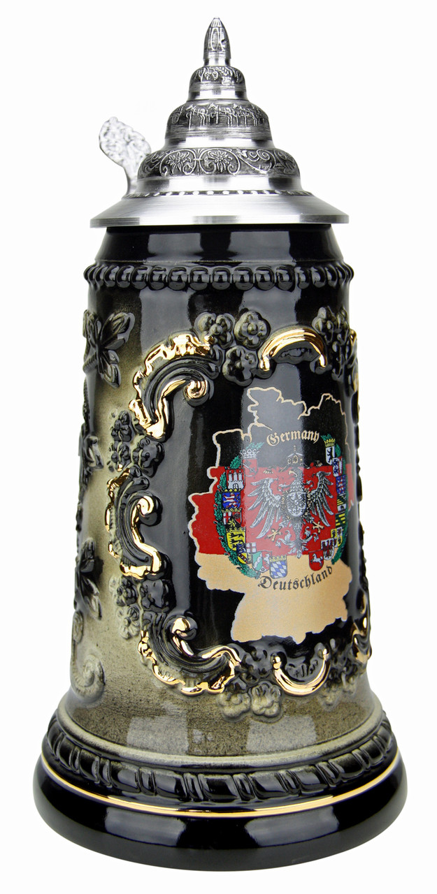 Deutschland Map Black Glaze Beer Stein