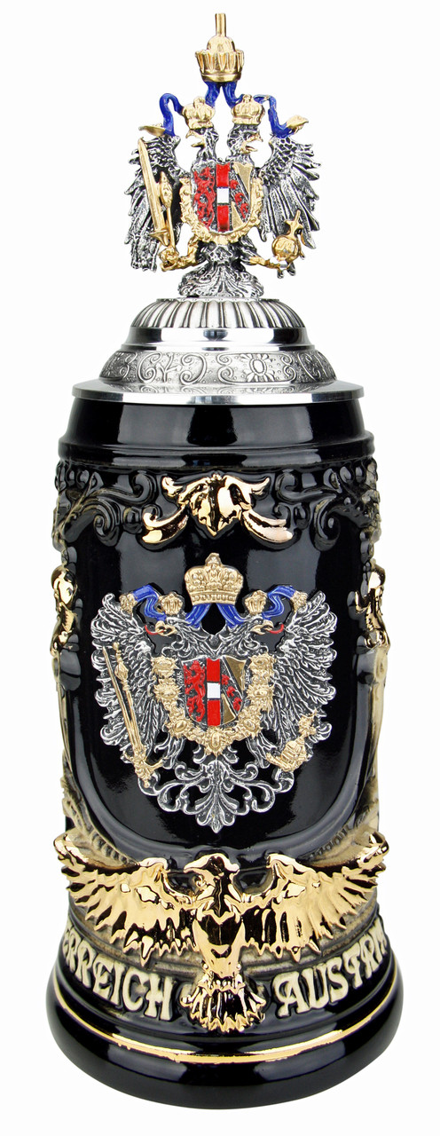 Austria Eagle Handle Beer Stein with Eagle Lid