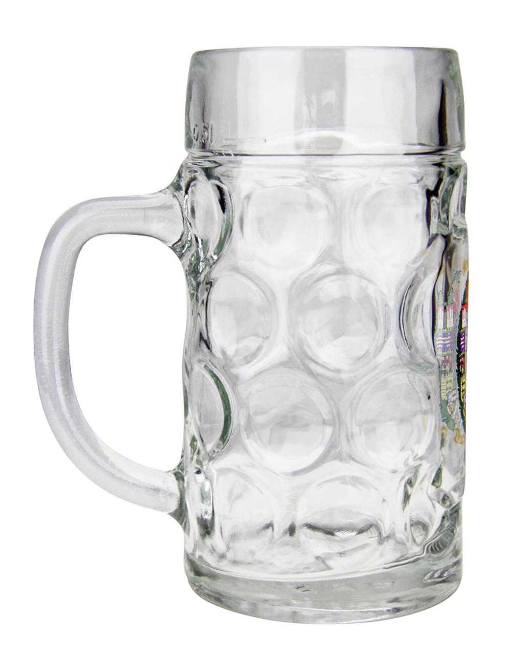 German Eagle & Crests Oktoberfest Glass Beer Mug with .5 Liter Markings