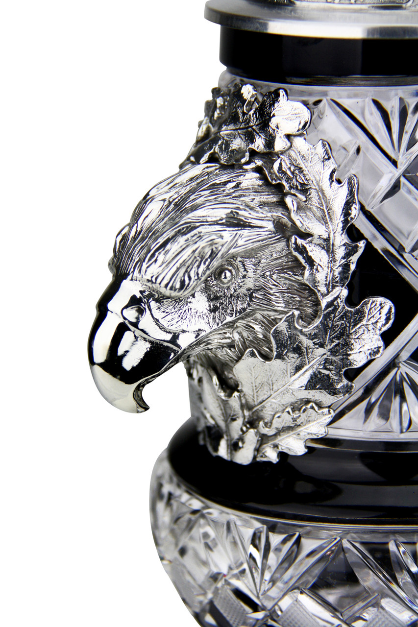 Lord of Crystal Eagle German Beer Stein Black   3D Flying Eagle Lid