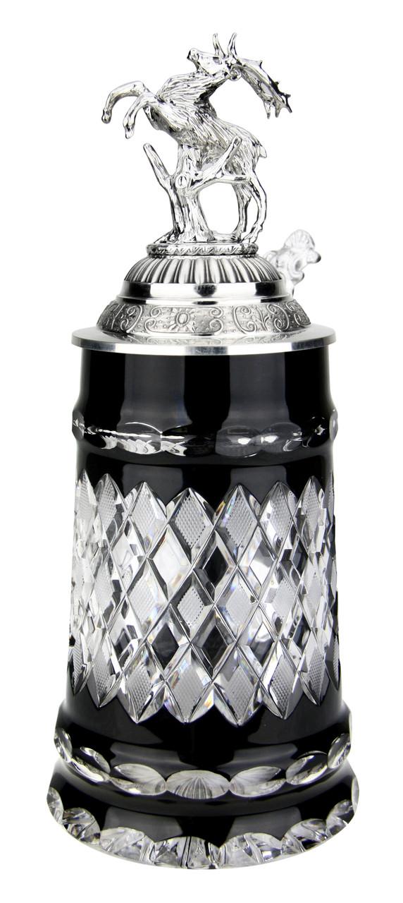 Lord of Crystal Black German Beer Stein | 3D Stag Lid