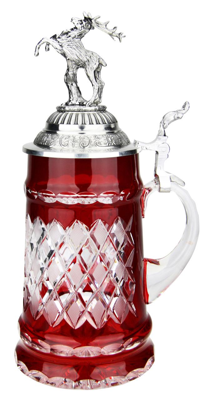 Lord of Crystal Red German Beer Stein | 3D Stag Lid