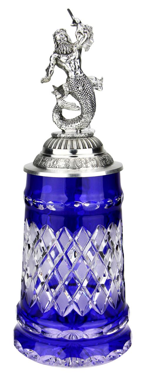 Lord of Crystal Blue German Beer Stein   3D Poseidon Lid