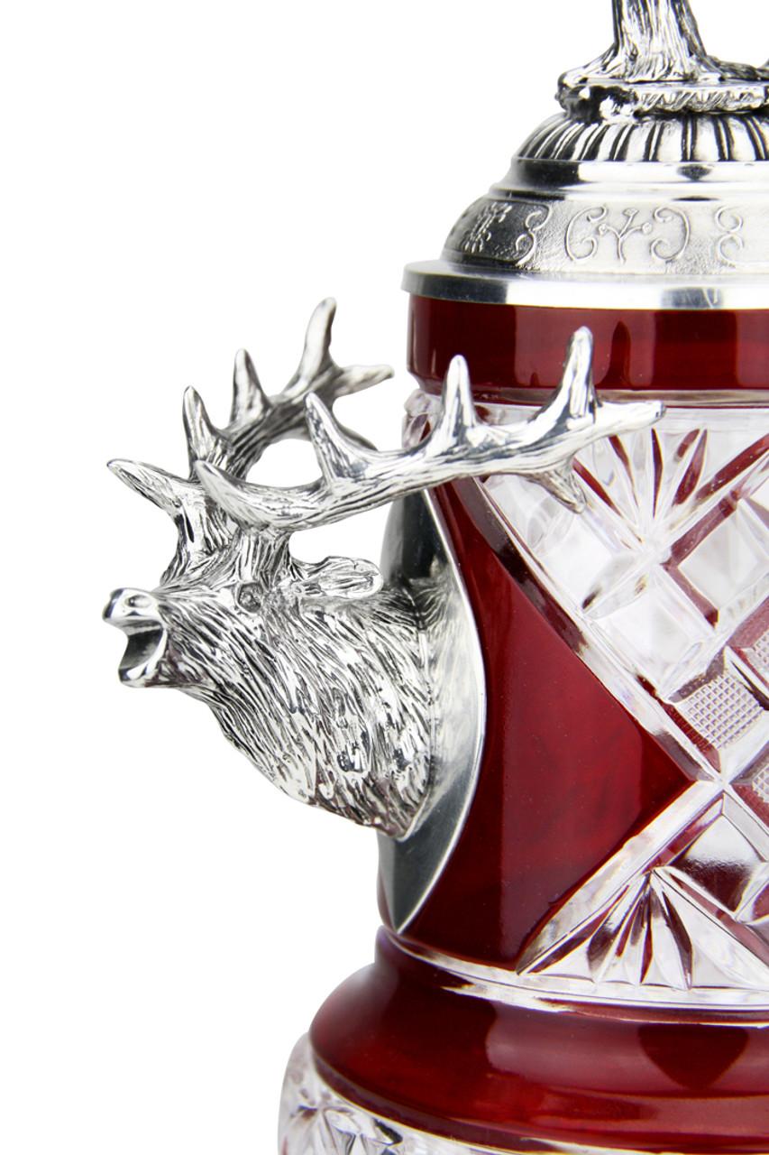 Lord of Crystal Stag German Beer Stein Red | 3D Stag Lid
