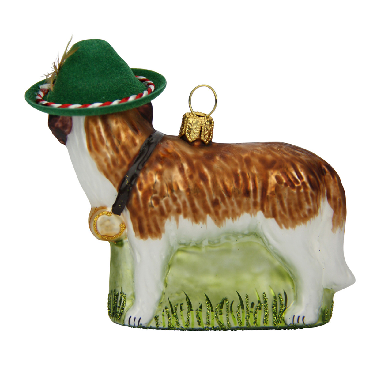 St Bernard Dog Glass Christmas Ornament