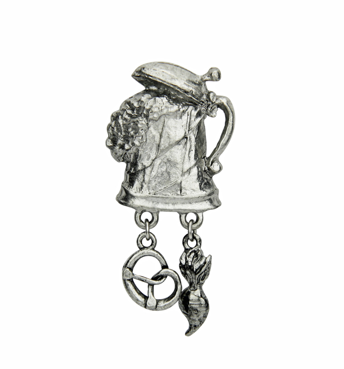 Frothing Beer Stein with Pretzel and Radish German Hat Pin