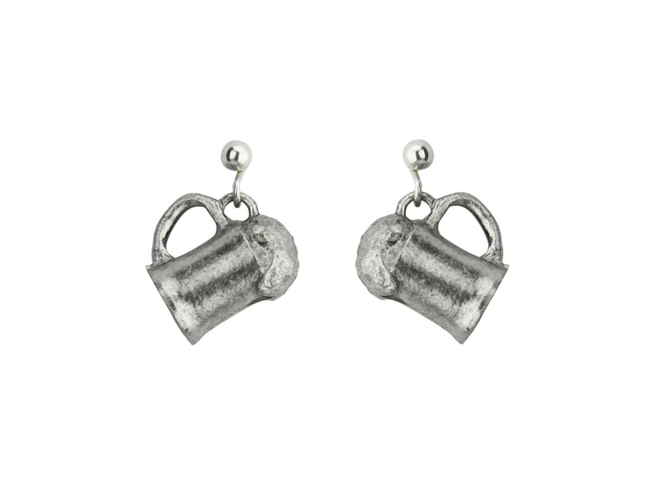 Beer Mug German Pewter Earrings
