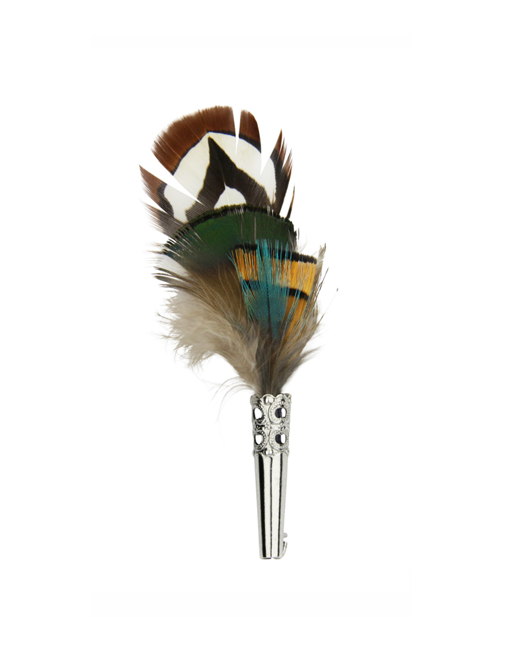Brown Teal and Yellow Feather Hat Pin