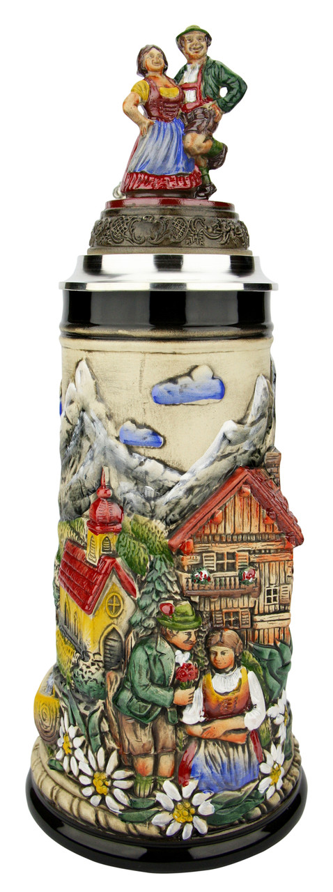 Alpine Romance Beer Stein 1 Liter | Dancing Couple Lid