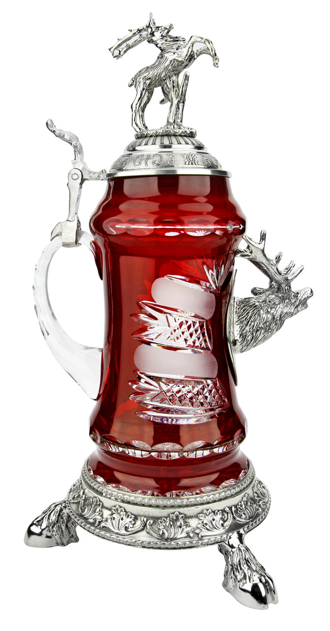 Lord of Crystal Stag German Beer Stein Red | 3D Stag Lid | Hoof Feet