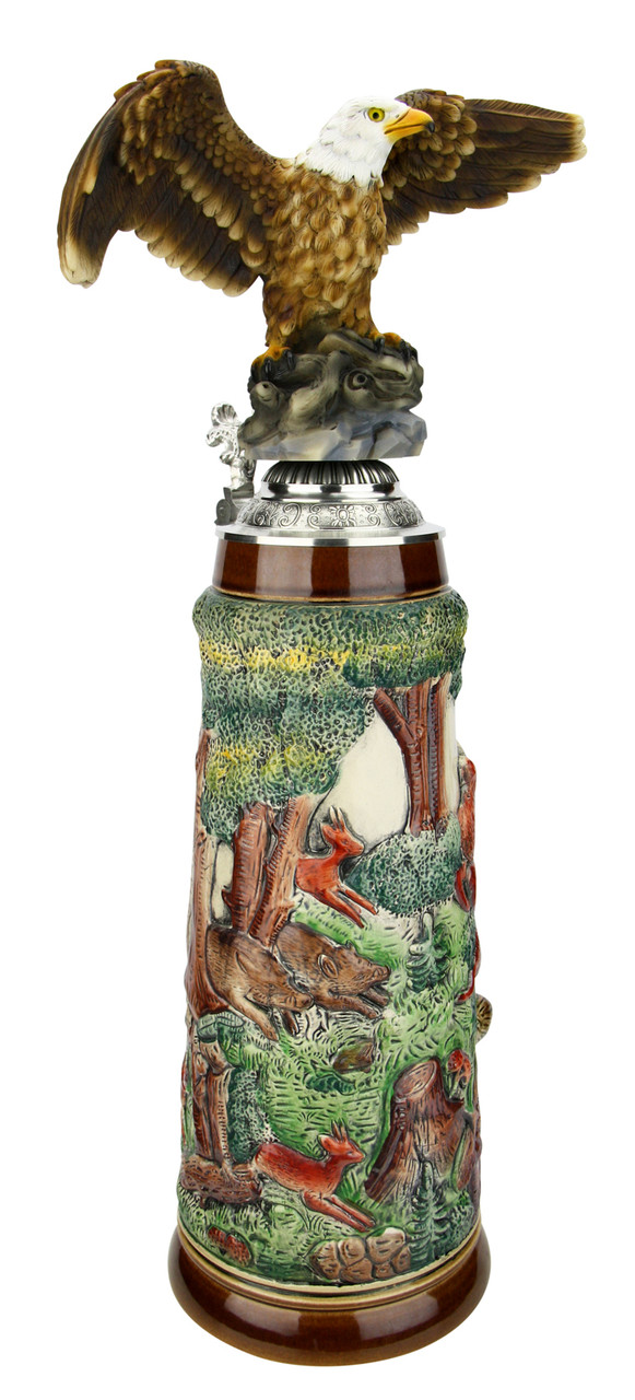 Fox Handle Hunter Beer Stein 2 Liter | Eagle Lid