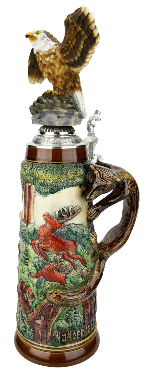 Fox Handle Hunter Beer Stein 2 Liter | Eagle Lid