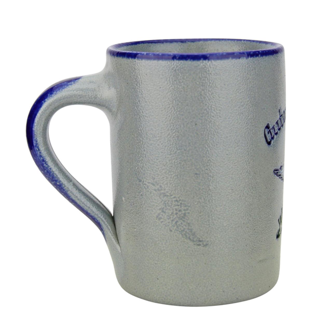 Guten Morgen   Good Morning Rooster Salt Glaze Coffee Cup