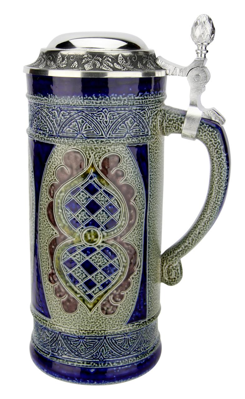 Stylized Salt Glaze Stoneware Beer Stein | 0.4 Liter