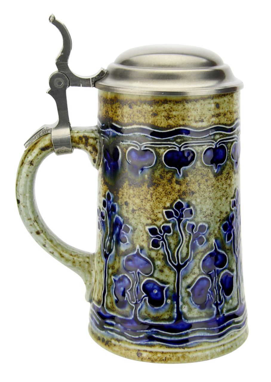 Art Nouveau Stylized Linden Tree Salt Glaze Beer Stein
