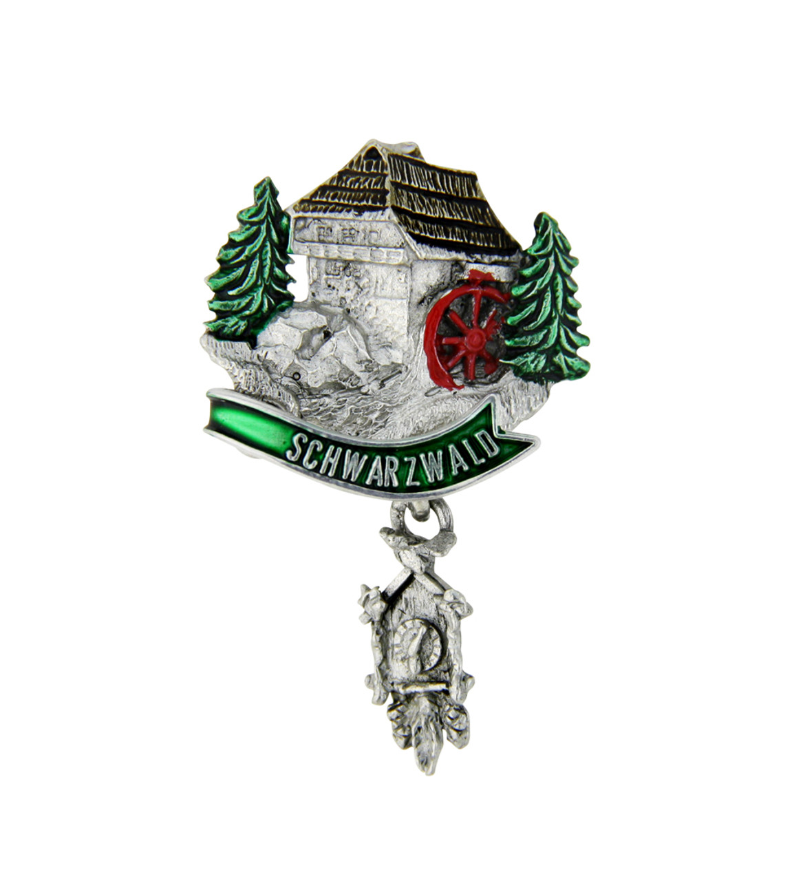 Schwarzwald House German Hat Pin with Cuckoo Clock