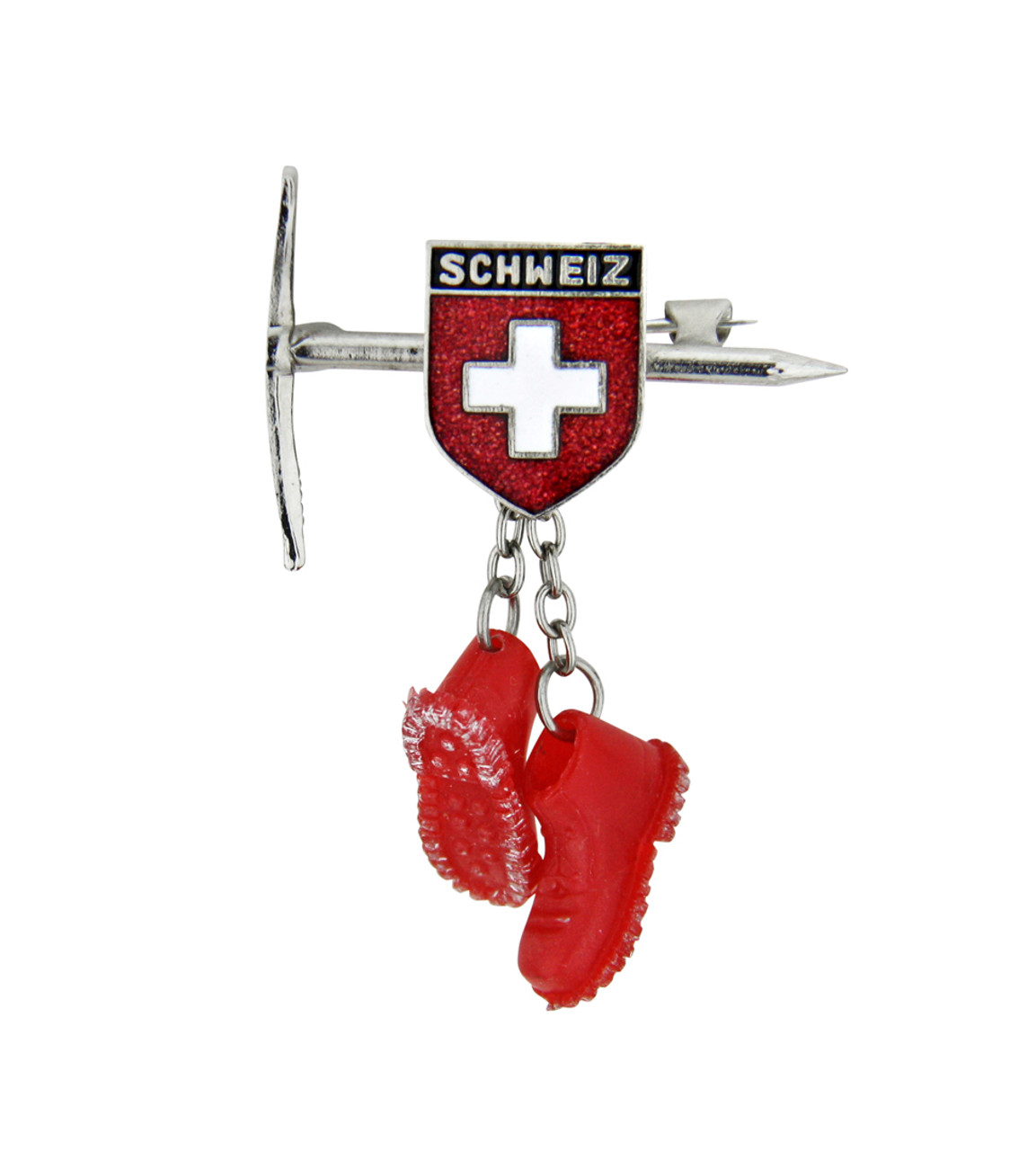 Switzerland Mountaineering Pin with Pick and Red Shoes