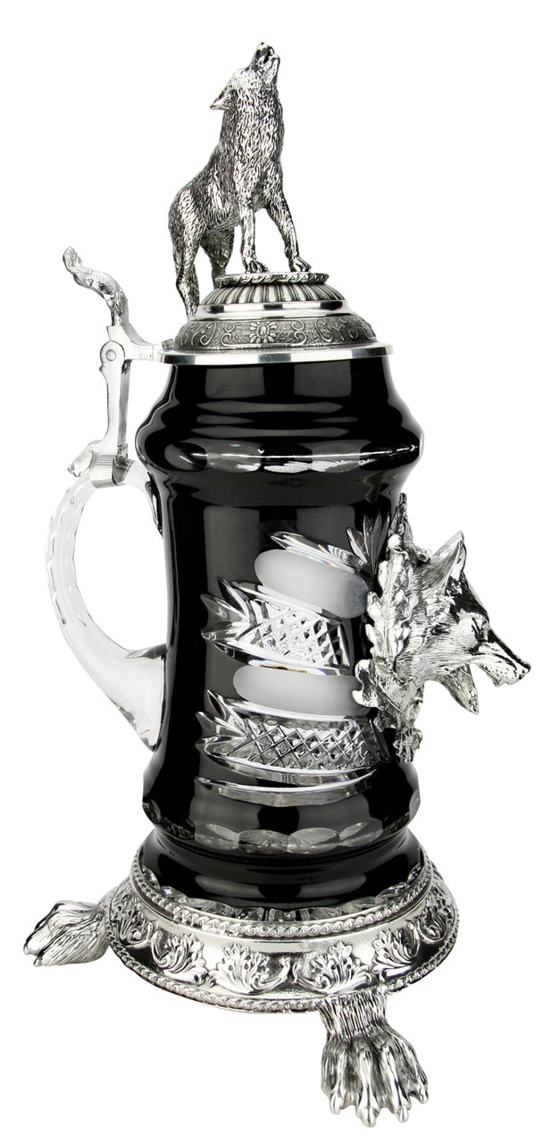 Lord of Crystal Wolf German Beer Stein Black   3D Howling Wolf Lid   Wolf Paw Feet