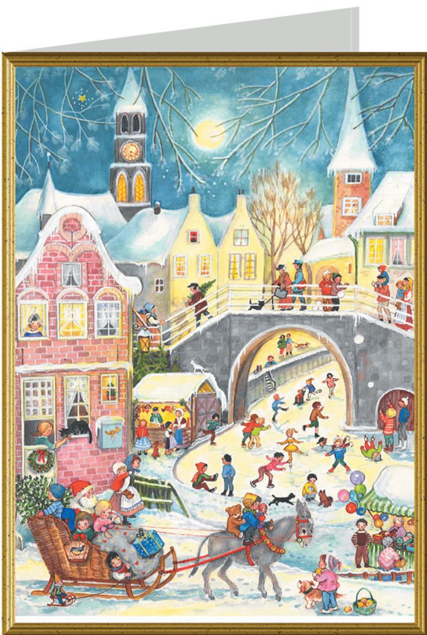 Charming Village with Skaters and Santa German Christmas Card