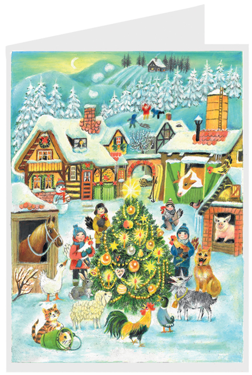 Christmas at the Farm German Advent Calendar Christmas Card