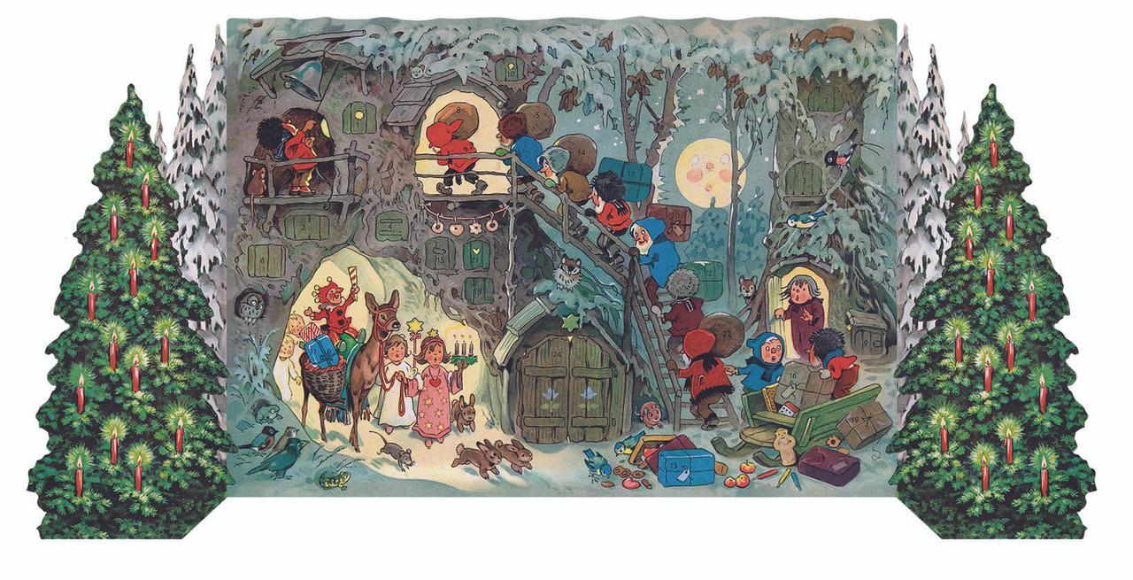 Gnomes Christmas 3D German Advent Calendar 1951 Reproduction