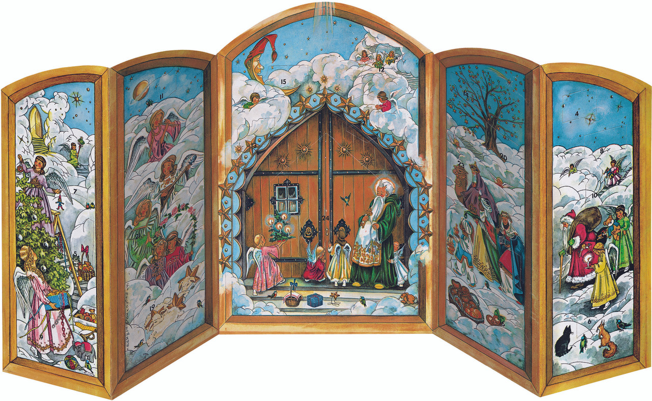 Christmas Gate 3D German Advent Calendar 1960s Reproduction