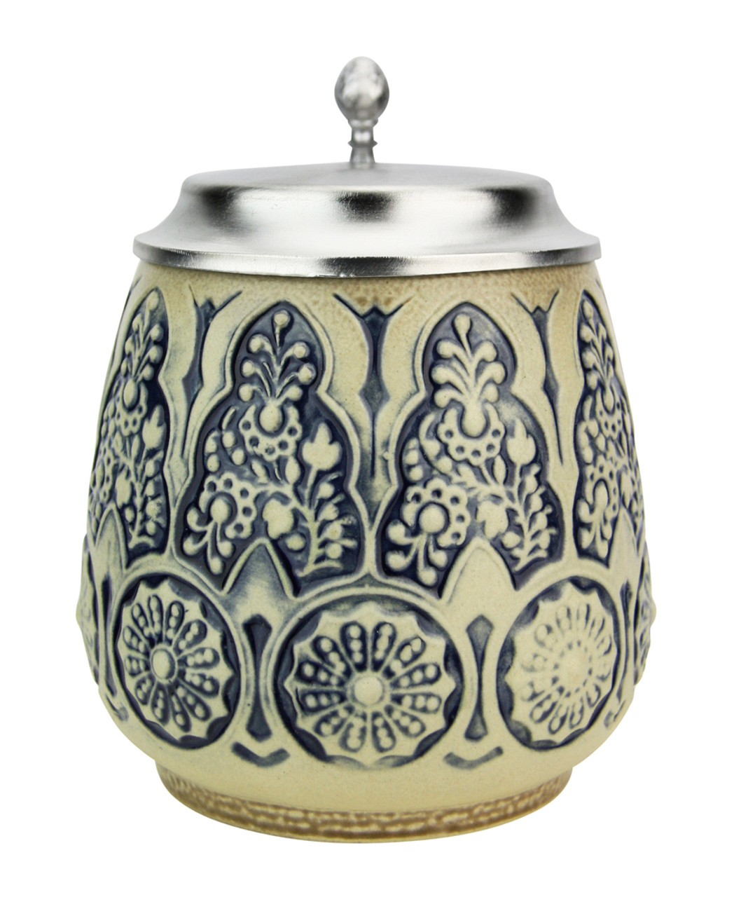 Stylized Plants Traditional Salt Glaze Beer Stein   Light Finish