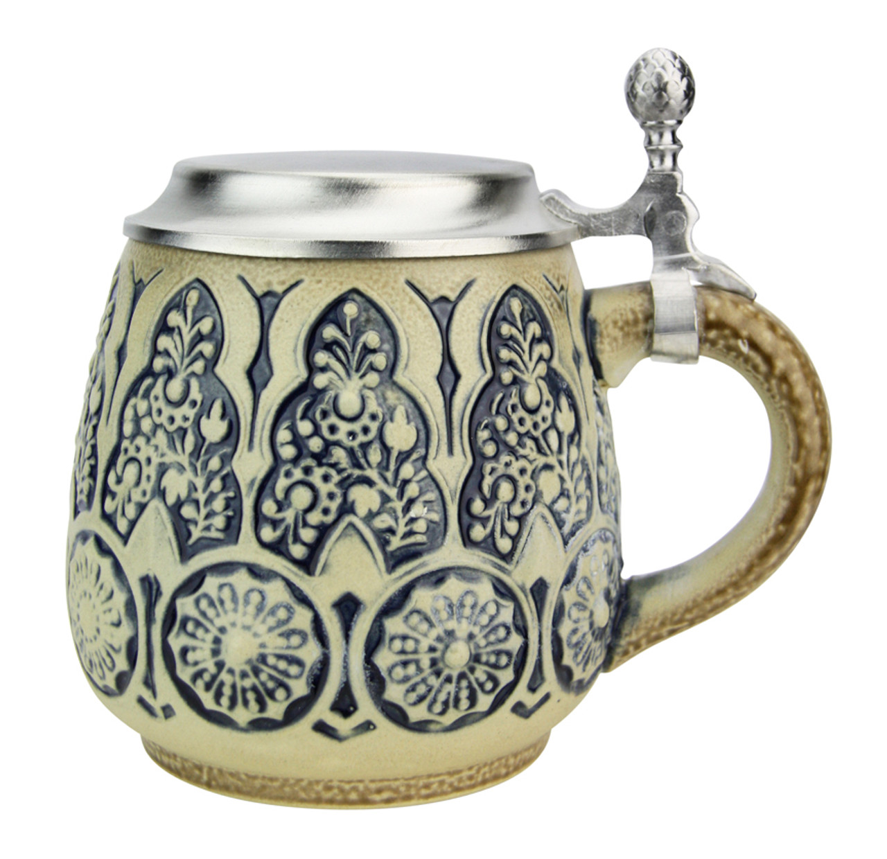 Stylized Plants Traditional Salt Glaze Beer Stein | Light Finish