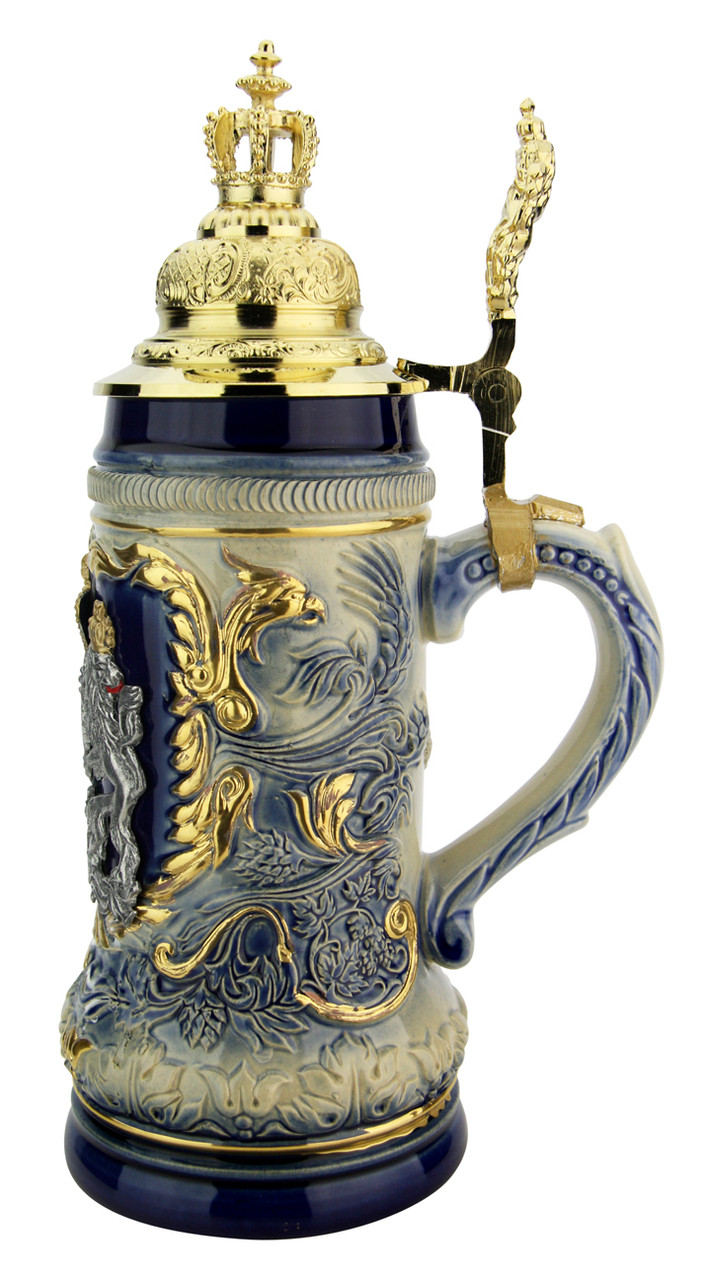 Bavaria Lion Crest Beer Stein with Gilded Royal Crown Lid