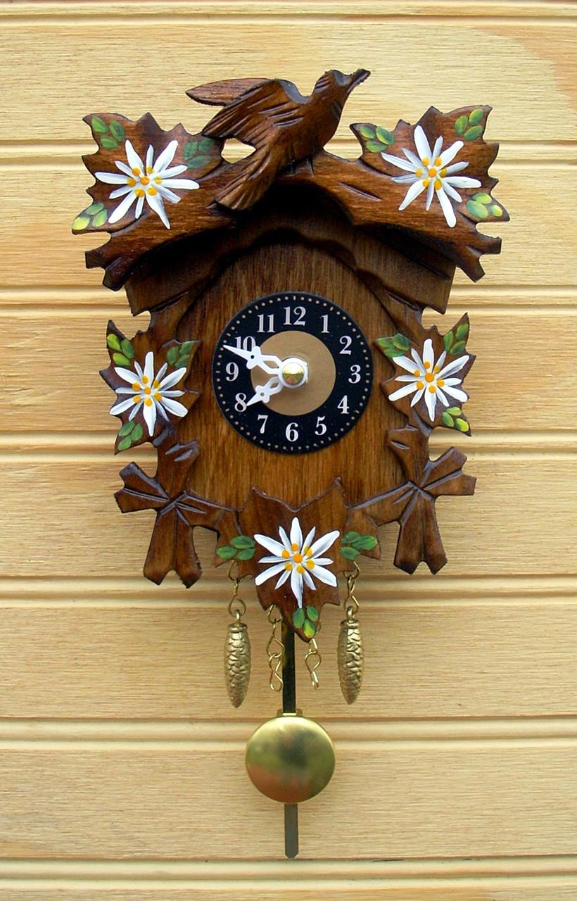 Edelweiss and Bird German Mini Clock | Musical