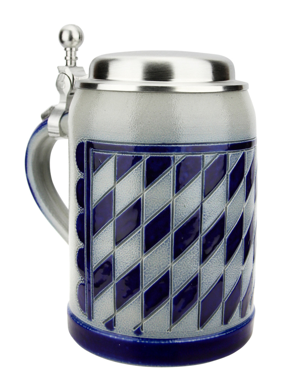 Bavarian Pattern 0.5 Liter Salt Glaze Stoneware Beer Stein