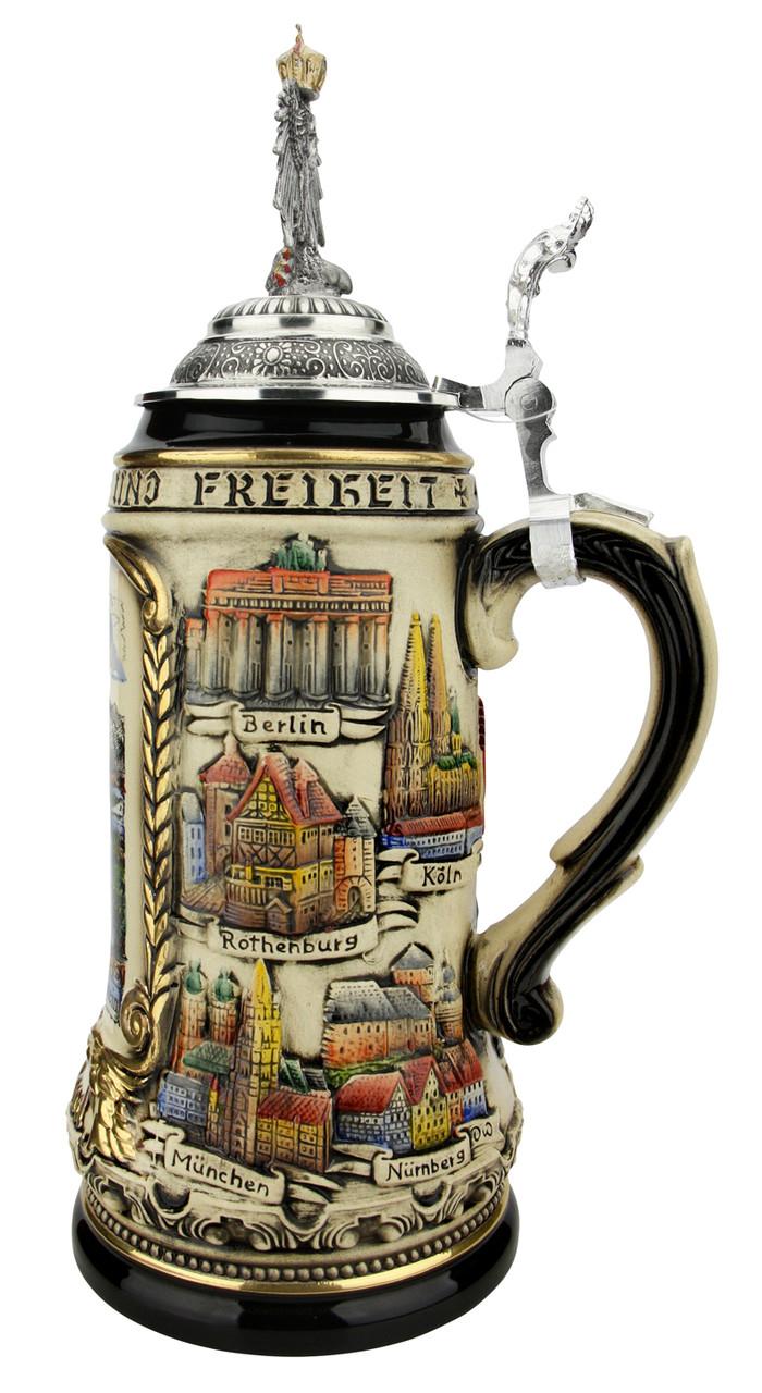 Neuschwanstein Castle German Beer Stein with Eagle Lid