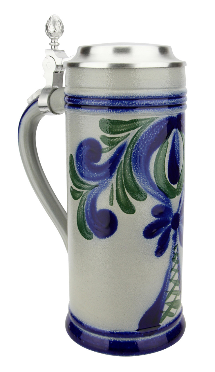 Stylized Blue and Green Salt Glaze Stoneware Beer Stein | 0.5 Liter