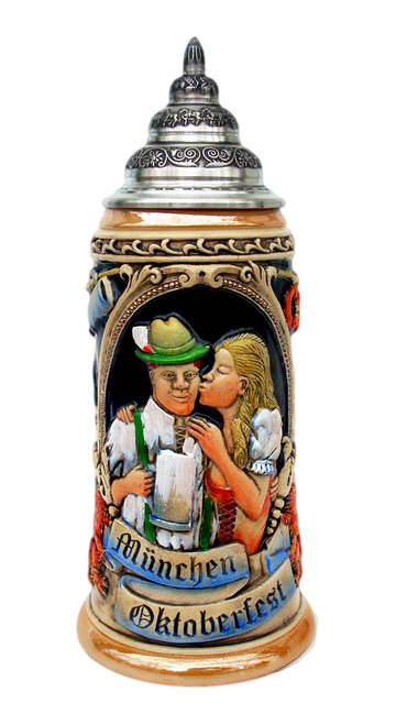 Oktoberfest King Werk Ceramic Beer Stein with Pewter Lid