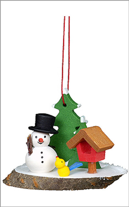Alpine Snowman Wooden German Ornament