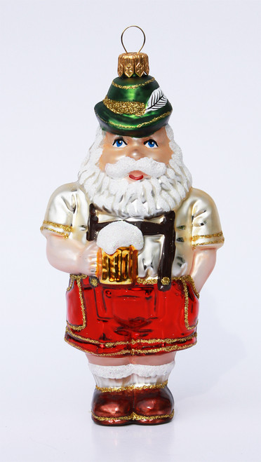 Glass Santa German Traditional Xmas Ornament