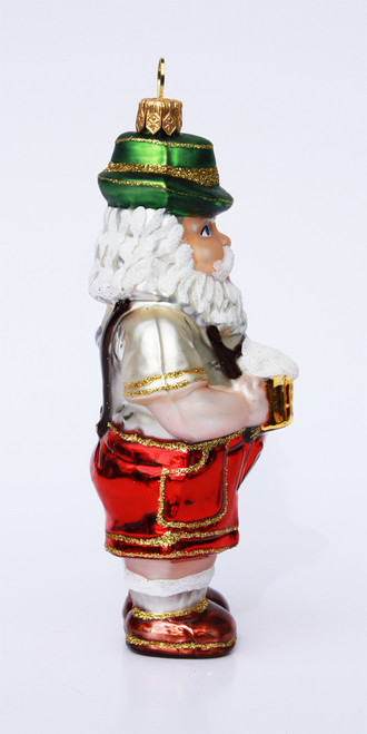Hand Blown Glass Santa Figurine Christmas Ornament