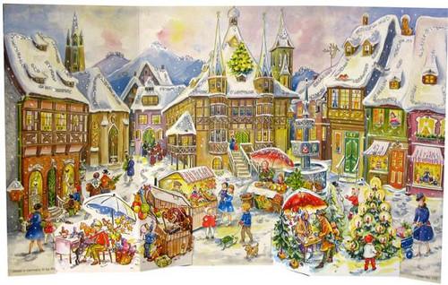 Paper Large German Christmas Advent Calender Christkindlmarkt 1958