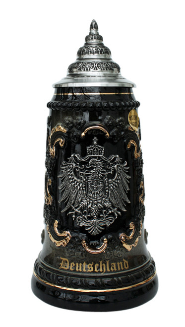"Black & Gray German Beer Stein with ""Deutschland"" in 24K Gold Ink"