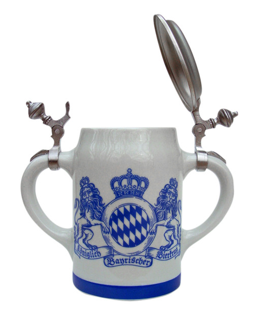 Double Handle Bavaria Crest Porcelain Beer Stein