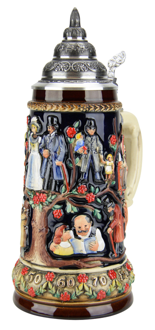 German Wedding Beer Stein with Pewter Lid