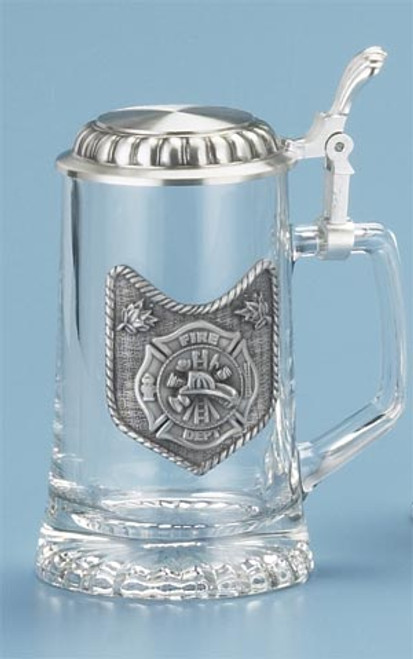 Traditional Fire Department Glass Beer Stein