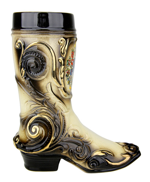 "Ceramic Beer Boot with Gilded Accents and ""Duetschland-Germany"""
