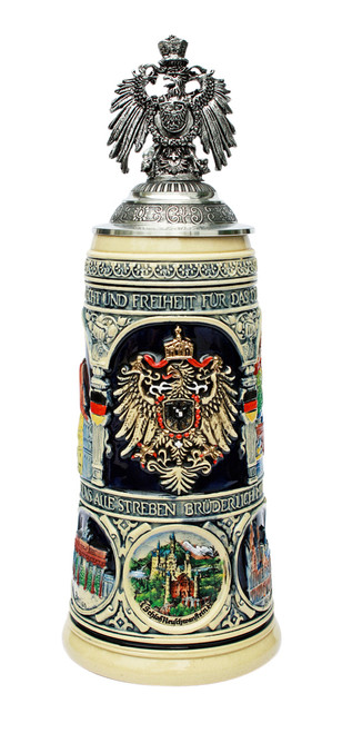 German Heritage Beer Stein with Pewter Eagle Lid