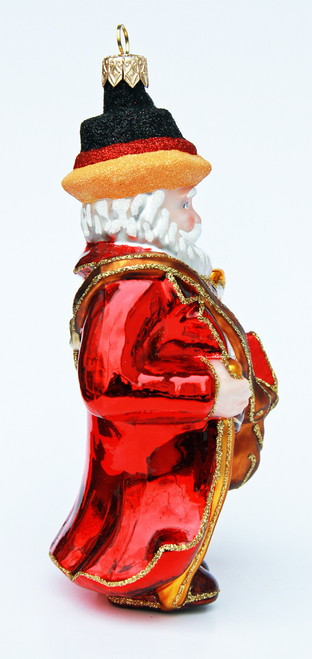 Hand Painted Vintage Style Santa German Glass Ornament
