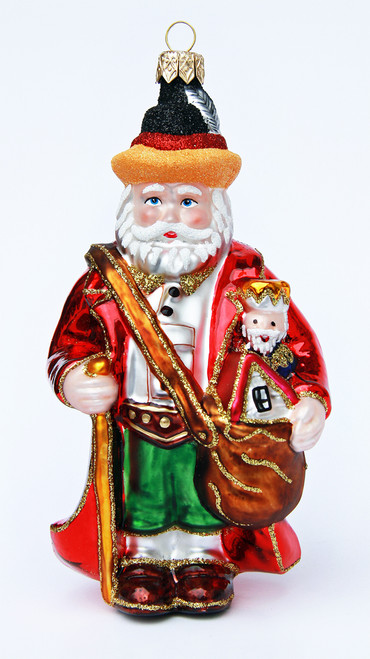 Traditional Santa Glass German Xmas Ornament
