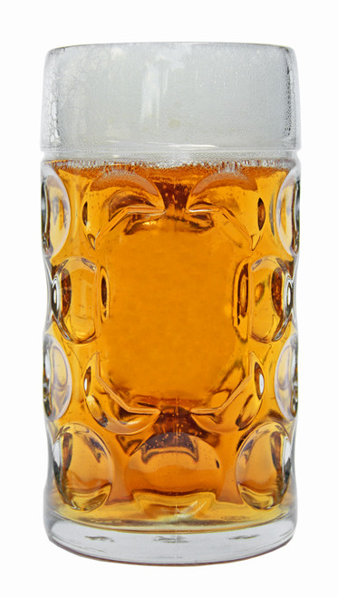Front View of Solid Glass One Liter German Oktoberfest Mug