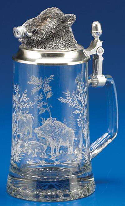 Wild Boar Glass Beer Stein